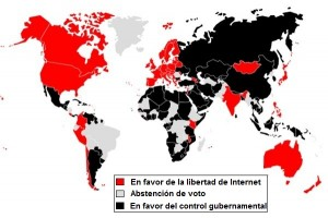 Mapa de paises en favor y en contra de la libertad de Internet (Click para ver en detalle)